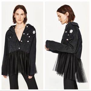Zara Tulle Trimmed Denim Jacket Black Sz L